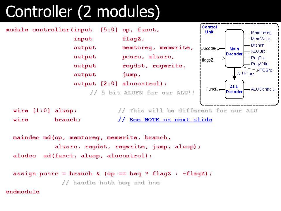 Controller (2 modules) module controller(input [5:0] op, funct,